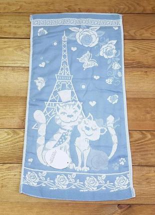 """Полотенце для рук и кухни """"cats"""" 26*50, голубой"""