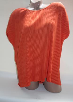 Блузка футболка плиссе жатка оранжевая в полоску tu (к027)