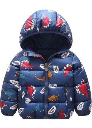 Утеплённая демисезонная куртка с динозаврами. р-р. 90, 100, 110