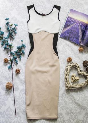 Платье-футляр черно-бело-бежевое офисное деловое (к027)