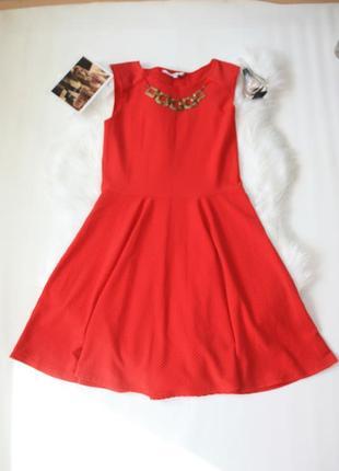 Платье красное фактурное клеш солнце new look 12р (к031)