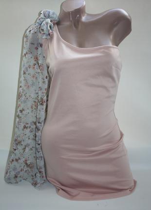 Платье с одним рукавом шифоновым персиковое нюд, пудра коктейл...