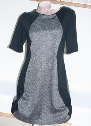Платье черное с серым классика в офис 14р bhs (к025)