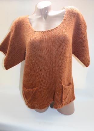Рыжая вязаная кофта, свитер с карманами шерсть, мохер, акрил и...