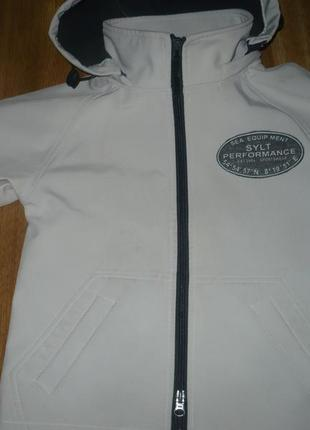 Куртка soft shell на флисе светло серая 116р.
