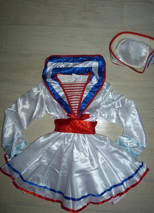 Карнавальный костюм, платье морячки на 5-6 лет