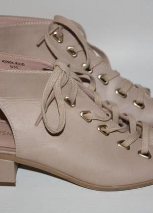 Босоножки пудровые нюд бежевые topshop шнуровка (к031)
