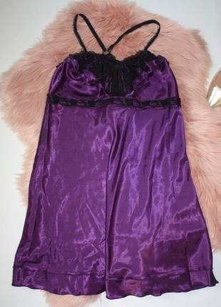 Ночная рубашка ночнушка фиолетовая с кружевом атлас ninex ling...