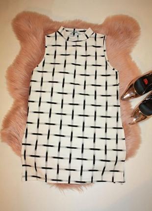 Блузка с горловиной геометрический принт черно-белая 10р peaco...