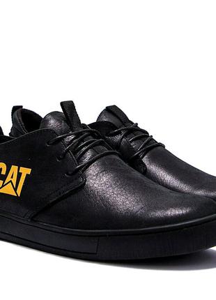 Мужские кожаные кроссовки Cat. Код:1136_КМ.