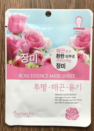 Тканевая маска с розой natureby rose essence mask sheet