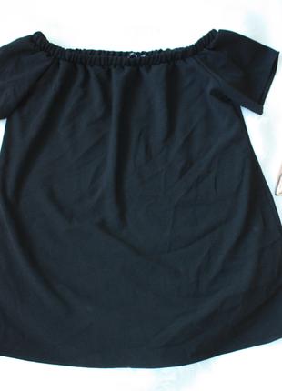 Туника-платье спущенные плечи на резинке черная boohoo 16р (к037)