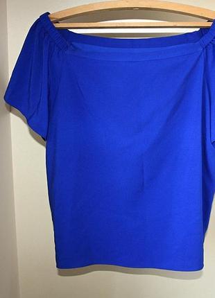 Блузка синяя спущенные плечи на резинке george 16р (к041)