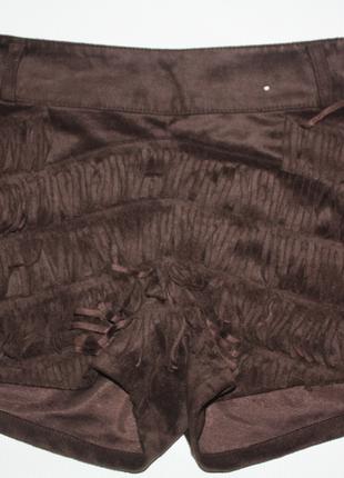 Шорты под замш с бахромой коричневые denim co 10р (к029)