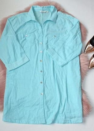Платье-рубашка туника небесно-голубое натуральное хлопок батал...