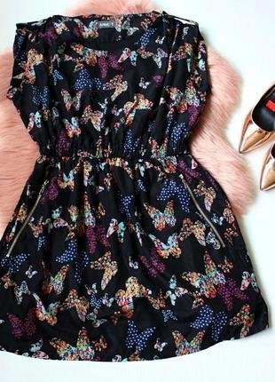 Платье черное клеш солнце принт рисунок бабочки apricot 16р (к...