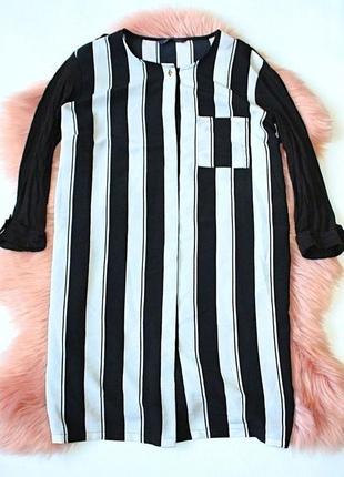 Платье-рубашка (туника) в полоску черно-белое с разрезами mark...