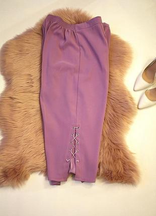 Капри\ бриджи \укороченные брюки со шнуровкой плетение батал б...