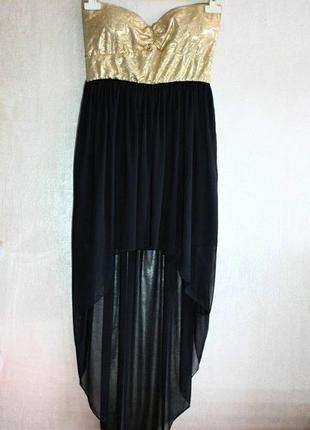 Платье-бюстье вечернее асимметрия со шлейфом золотистое черное...