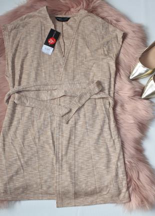 Кардиган новый с биркой (кимоно) без рукавов бежевый в рубчик ...