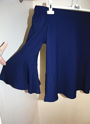Блузка со спущенными плечами на резинке синяя рукава клеш f&f ...