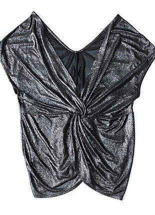 Блестящая блузка с узлом \ с глубоким вырезом \ футболка \ люр...