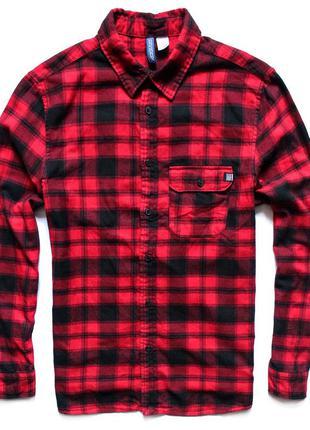 Мужская рубашка в красную клетку hm