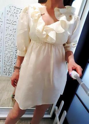 Платье шелковое 100% шёлк натуральный айвори шампань нежное во...