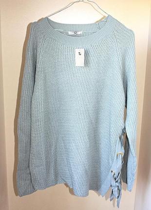 Новый с биркой свитер с завязкой на люверсах (шнуровка) батал ...