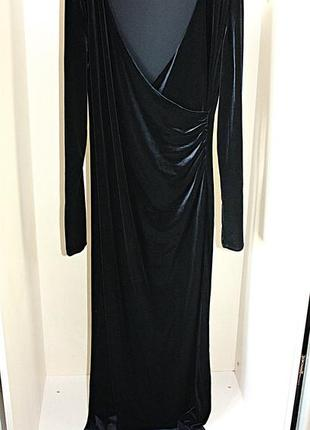 Длинное бархатное велюровое платье в пол вечернее черное вырез...