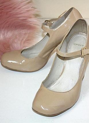 Туфли мэри джейн трендовые лаковые с квадратным носком на толс...