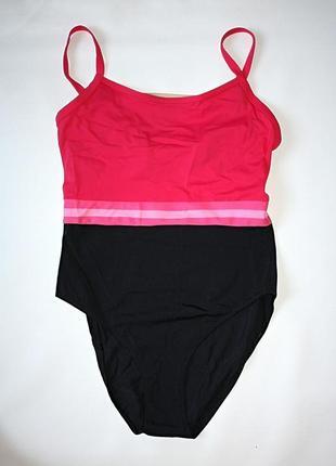 Цельный сдельный закрытый купальник розовый черный the beach (...