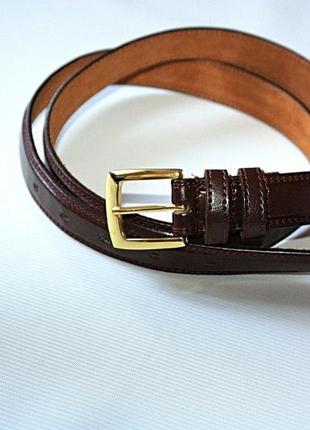 Кожаный коричневый тонкий мужской ремень\ натуральная кожа 100...