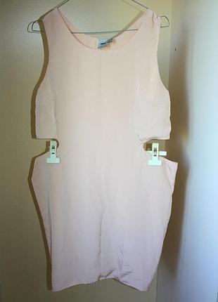 Платье с разрезами по бокам пудра нюд asos 12р (к041)