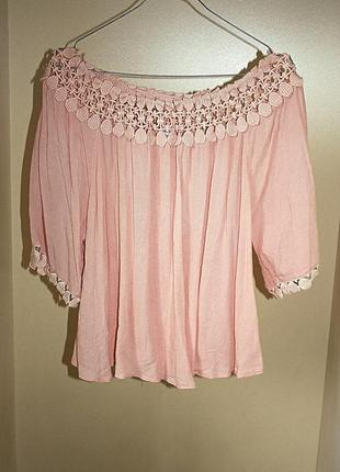 Розовая блузка футболка с вязаным кружевом oversize оверсайз т...