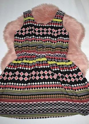 Платье клеш солнце разноцветное геометрический принт вырез на ...