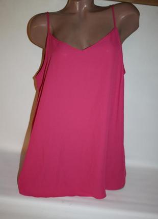 Блузка майка розовая однотонная трапеция на тонких бретелях ge...