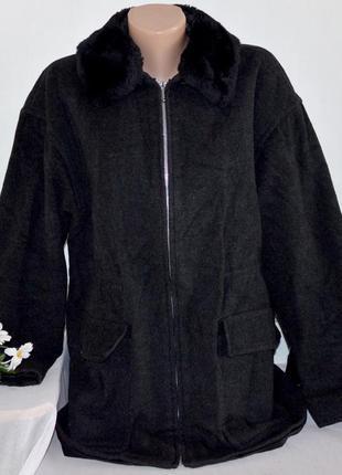 Темно-серое шерстяное демисезонное пальто куртка на молнии с м...