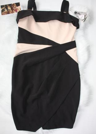 Платье черное с бежевым на замке вечернее коктейльное lipsy (к...
