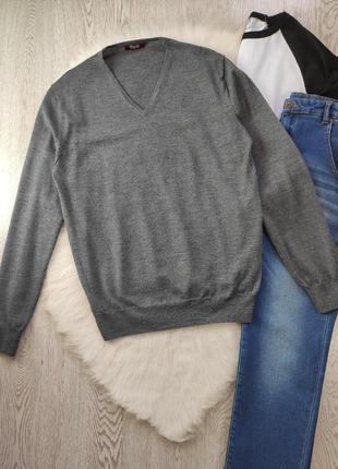 Серый натуральный мужской свитер кофта вязаная джемпер тонкий ...