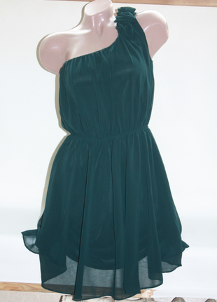 Платье изумруд шифон на одно плечо miso 10р (к025)