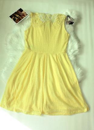 Платье желтое вязаное с кружевом клеш солнце vero moda (к032)