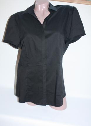 Рубашка новая с коротким рукавом офисная черная классическая a...
