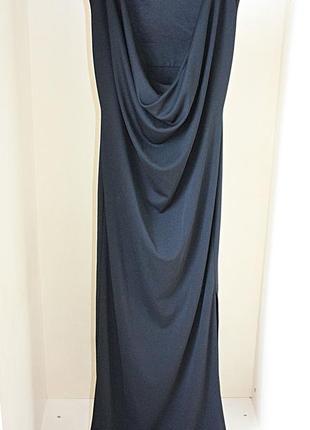 Черное макси платье в пол вырез и напуск на спине next (к052)