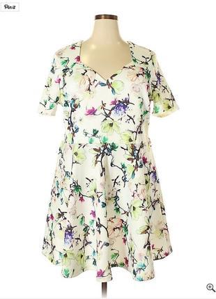 Платье в цветы принт рисунок клеш батал большой размер 20р sim...