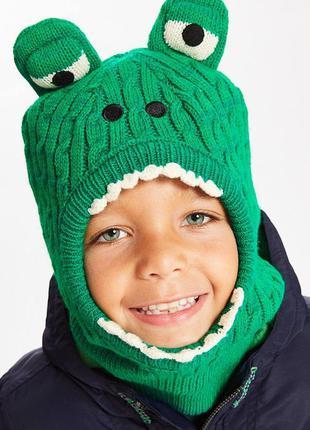 Теплая шапка шлем балаклава крокодил на ребенка 3-5 лет