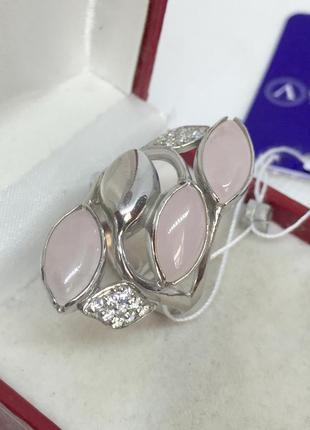 Новое родированое серебряное кольцо кварц куб.цирконий серебро...