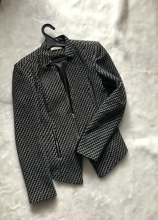 Удлиненный пиджак из пальтовой ткани с вставками под кожу от l...