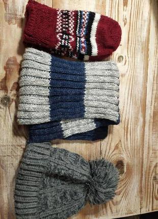 Детский тепленький комплект- шарф с шапкой+варежки в подарок!!