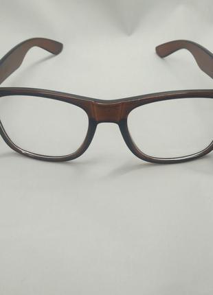 Очки оправа wayfarer ретро прозрачные линзы коричневые